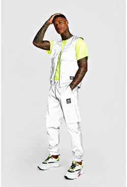 Mens Silver MAN Reflective Utility Vest & Jogger