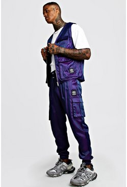 Mens Purple Iridescent MAN Utility Vest & Jogger