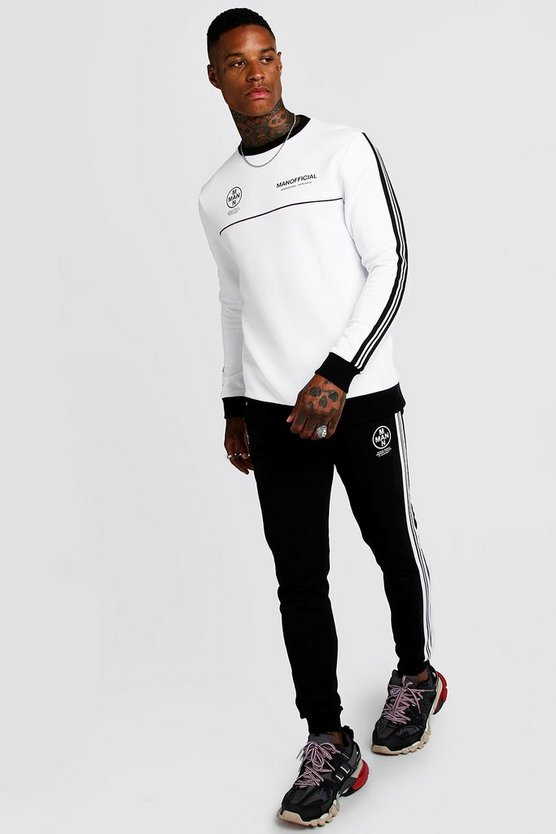 Survêtement à bande sweat contrasté MAN Officiel, Blanc, Homme