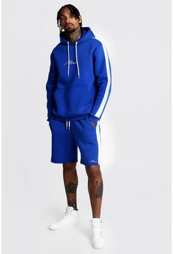 Cobalt MAN Panelled Hooded Short Tracksuit With Print