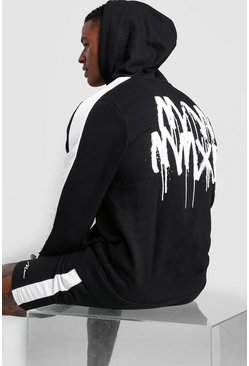 Mens Black MAN Panelled Hooded Short Tracksuit With Back Print