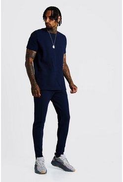 Mens Navy Smart Jacquard Waffle T-Shirt & Jogger Set