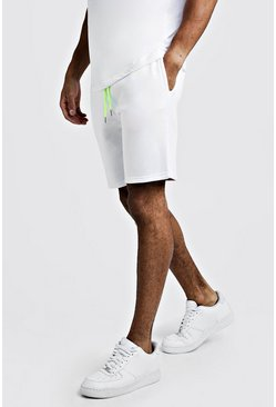 White Plain Mid Length Shorts With Neon Draw Cords