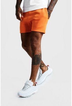 Mens Neon-orange Neon Short Length Jersey Shorts