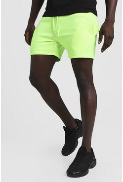 Mens Neon-yellow Neon Short Length Jersey Shorts