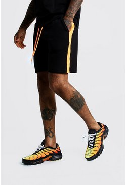 Mens Neon-orange Neon Tape Mid Length Jersey Shorts