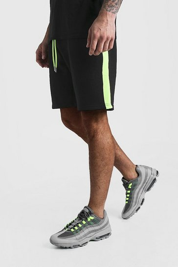Mens Neon-yellow Neon Tape Mid Length Jersey Shorts