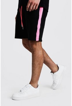 Mens Neon-pink Neon Tape Mid Length Jersey Short