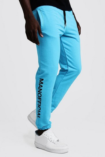 Mens Bright blue MAN Official Puff Print Neon Joggers