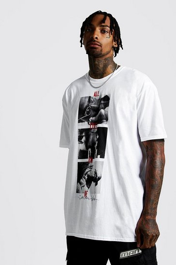 Mens White Tupac All Eyes On Me Oversized License T-Shirt