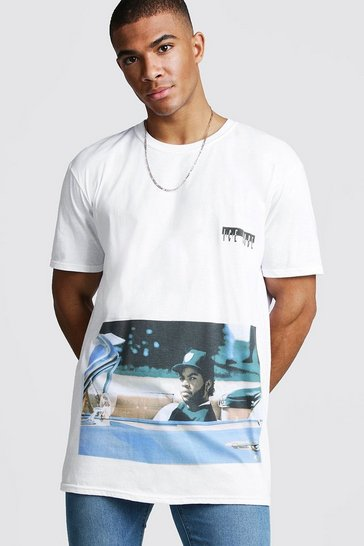 Mens White Oversized Ice Cube Rolling License T-Shirt