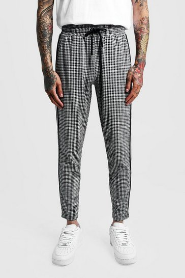 Mens Grey Gingham Cropped Smart Jogger Trouser