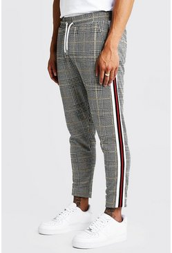 Red Check Jacquard Tape Detail Cropped Jogger Pants