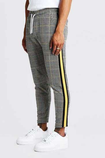 Mustard Houndstooth Check Taped Cropped Smart Jogger