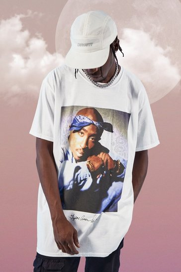 Mens White Oversized Tupac Bandana License T-Shirt