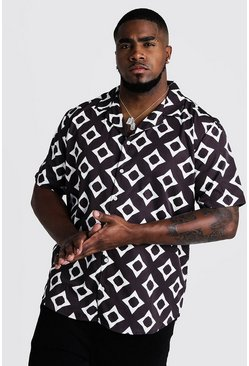 Mens Black Big & Tall Geo Print Revere Collar Shirt