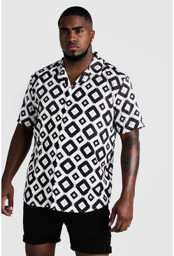 Mens White Big & Tall Geo Print Revere Collar Shirt