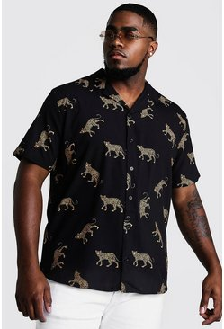 Mens Black Big & Tall Cheetah Print Revere Collar Shirt