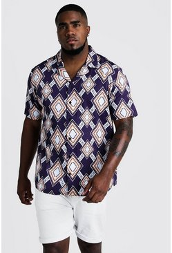 Mens Purple Big & Tall Large Aztec Print Revere Collar Shirt