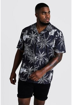 Mens Black Big & Tall Palm & Floral Revere Collar Shirt