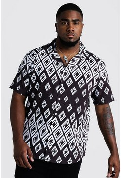 Mens Black Big & Tall Gradient Aztec Revere Collar Shirt