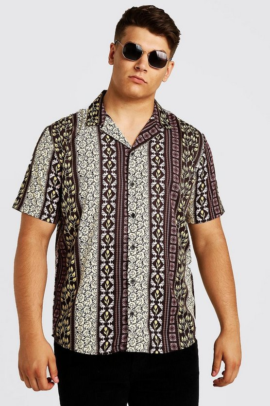 Brown Big & Tall Mixed Print Revere Collar Shirt