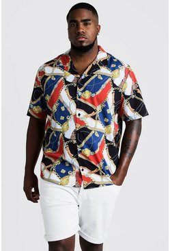 Mens Red Big & Tall Chain Print Revere Collar Shirt
