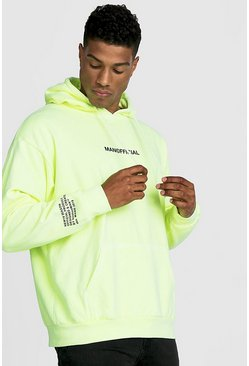 Sweat à capuche goutte MAN Official, Jaune néon, Homme