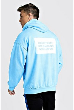 Mens Blue Oversized MAN International Hoodie