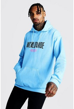 Sweat à capuche imprimé Worldwide, Bleu, Homme