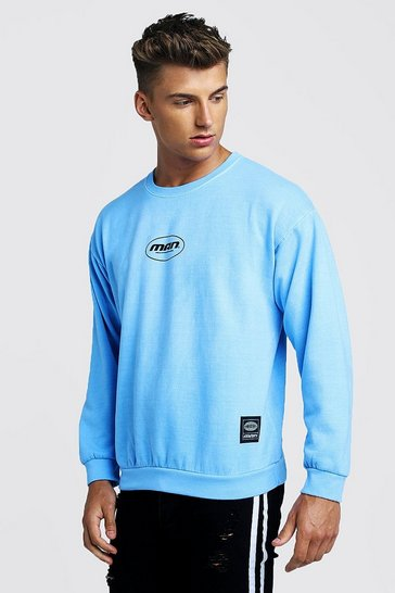 Mens Blue MAN Print Sweatshirt