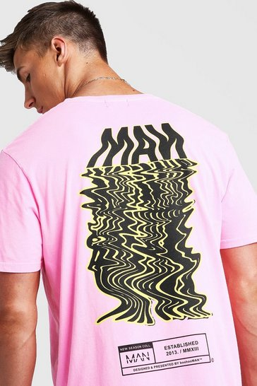 Mens Neon-pink Loose Fit MAN Drip Print T-Shirt