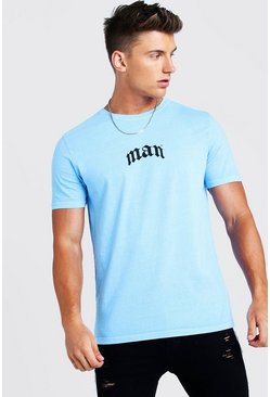 Mens Blue Oversized Gothic MAN Print T-Shirt With Back Print