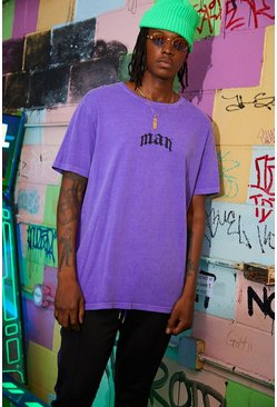 Loose Fit Gothic MAN Print T-Shirt, Purple, HOMMES