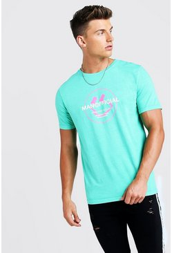 MAN Official Print T-Shirt, Green, HOMMES