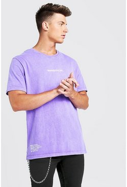 Loose Fit MAN Official Drip Print T-Shirt, Purple, HOMMES