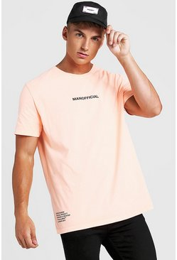 Mens Neon-orange Loose Fit MAN Official Drip Print T-Shirt