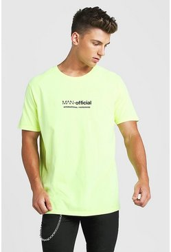 Loose Fit MAN Official Print T-Shirt, Neon-yellow, HOMMES