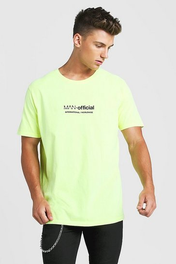 Mens Neon-yellow Loose Fit MAN Official Print T-Shirt