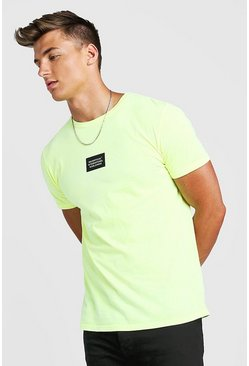 MAN Worldwide T-Shirt With Front & Back Print, Neon-yellow, HOMMES