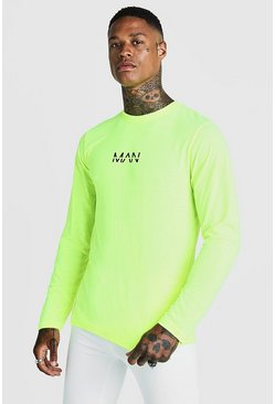 Mens Neon-yellow Original MAN Long Sleeve T-Shirt