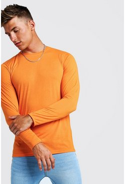 Mens Neon-orange Basic Long Sleeve Crew Neck T Shirt