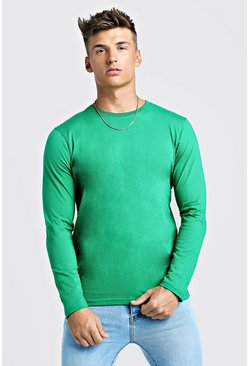 Mens Green Basic Long Sleeve Crew Neck T Shirt