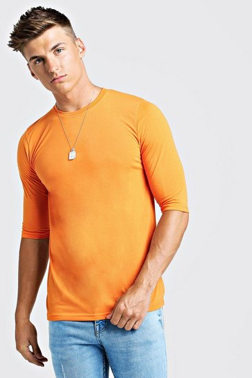 Mens Neon-orange 3/4 Sleeve Regular Fit T-Shirt