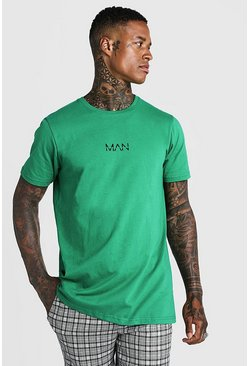 Mens Green Original MAN Longline T-Shirt