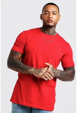 Mens Red Longline T-Shirt