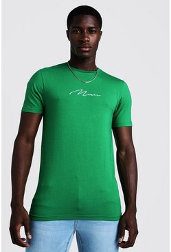 Herr Green Muscle Fit Man Signature Embroidered T-Shirt