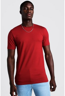 Mens Red Muscle Fit Crew Neck T Shirt