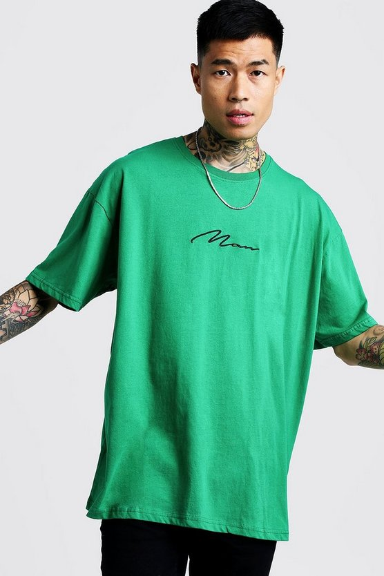 Mens Green Oversized Man Signature Embroidered T-Shirt