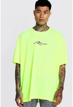 Mens Neon-yellow Oversized Man Signature Embroidered T-Shirt